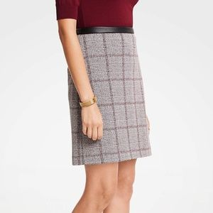FAUX LEATHER TRIM PLAID A-LINE SKIRT IN RED MULTI